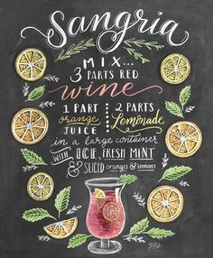 Lily & Val - Sangria Rezept (Englisch) Lily & Val Sangria recipe poster at Posterlounge ✔ Free shipp Cocktail Drinks, Alcoholic Drinks, Beverages, Summer Cocktails, Cocktail Images, Summer Sangria, Chalkboard Designs, Chalkboard Art, Special Recipes
