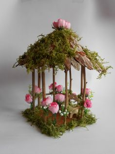 Fairy Garden Miniature,Doll House ,ROSE Flower and Moss Wood Twig Gazebo,Fairy Garden House, Fairy Cottage, Fairy House, Fairy Furniture by FairylandStore on Etsy https://www.etsy.com/listing/502752107/fairy-garden-miniaturedoll-house-rose