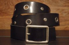 Black Leather Belt  Eyelet  Size  Belt Buckle by CUERO925LEATHER, €25.00