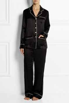Olivia von Halle|Coco silk-satin pajama set|NET-A-PORTER.COM