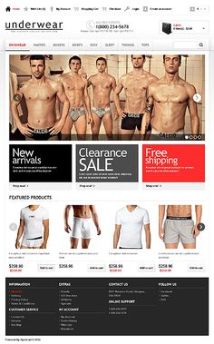 Before you purchase it, check out this adorable Men's Underwear OpenCart Template ( - get to know tech specifics and requirements, read user testimonials, ask a question. Ecommerce Website Design, Responsive Web Design, Boxers, Fashion Website Design, One Page Website, Men's Underwear, Web Design Inspiration, Website Template, Templates