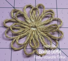 Really Reasonable Ribbons Ramblings!: Jute Loopy Flower and Loopy Ribbon Flower Tutorials Really Reasonable Ribbons Ramblings!: Jute Loopy Flower and Loopy Ribbon Flower Tutorials Twine Flowers, Felt Flowers, Diy Flowers, Fabric Flowers, Paper Flowers, Twine Crafts, Fabric Crafts, Diy Crafts, Burlap Flower Tutorial