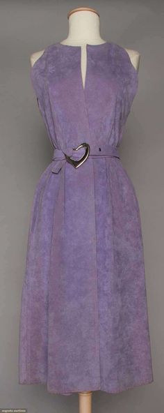 HALSTON LILAC ULTRASUEDE DRESS, 1970s  Sleeveless front wrap, notched neckline & sleeveless, self fabric tie belt w/ large silver buckle in Elsa Peretti style heart