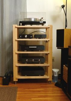 Amazing Stereo Stand & Rack for Sale - Ideas on Foter Hifi Stand, Audio Stand, Speaker Stands, Tv Stands, Narrow Shelves, Wood Shelves, Custom Furniture, Furniture Design, Furniture Ideas
