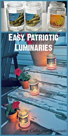 Recycle empty jars into beautiful patriotic luminaries