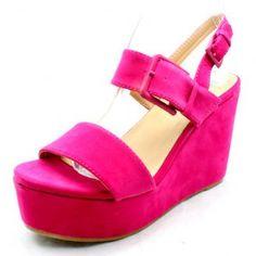 Ladies fuchsia pink suedette high wedge heel platform sandals large buckle NEW