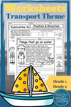 Things that go! Transport themed worksheets for English, ELA.  A variety of worksheets covering a range of skills including reading, comprehension, language and writing skills.  #treasuresforthematicteaching #teacherspayteachers #ela #englishworksheets #thingsthatgo #transporttheme