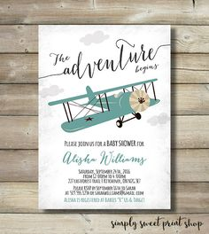 Airplane Boy Baby Shower Invite Invitation by SimplySweetPrintShop