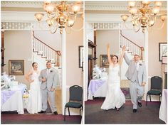 brie and groom enter wedding reception at Whitestone Inn Lion and Lamb