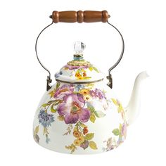 Bring feminine charm to your kitchen with this Flower Market tea kettle from MacKenzie-Childs. Classic in style it features anenamel body embellished with hand-applied floral transfers in a rainbow