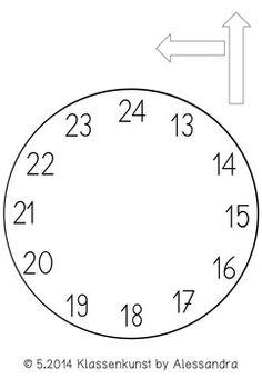 Bastelvorlage Uhr Clock Template Matematika Učení A Vzdělávání