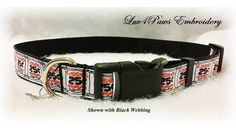 Adjustable Dog Collar, Kisses 25 cents Hugs Free. Made with Polypro webbing, which is lightweight but strong and resists shrinkage, sun damage and moisture, Black and Red Printed Grosgrain ribbon and a durable contoured nylon acetate buckle. A small collar charm is included. by Luv4PawsEmbroidery