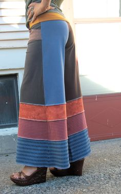 Upcycled Clothing patchwork Eco  Gaucho PANTS repurposed  by zasra, $85.00