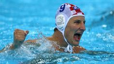 Sandro Sukno celebrates after Croatia secured gold in the men's Water Polo final