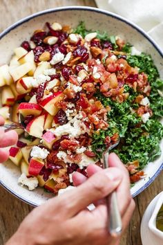 Apple Cranberry Bacon Kale Salad - Not only this salad recipe is packed full of hearty nutrients, but it tastes amazing too! : Apple Cranberry Bacon Kale Salad - Not only this salad recipe is packed full of hearty nutrients, but it tastes amazing too! Spinach Salad Recipes, Salad Recipes For Dinner, Chicken Salad Recipes, Healthy Salad Recipes, Simple Kale Recipes, Recipes For Kale, Pasta Recipes, Recipes Using Bacon, Simple Salads