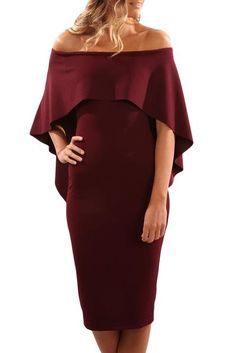 973cdd6954c Fashion Onlinechoic Burgundy Luxurious Off Shoulder Batwing Cape Midi Dress