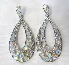 Clear And Iridescent Rhinestone Crystal Dangle Chandelier Earrings # 8871 New on eBay!