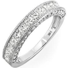 1.65 Carat (ctw) 14k White Gold Princess & Round Diamond Ladies Anniversary Wedding Matching Band Ring Stackable: Jewelry: Amazon.com