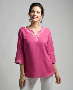 Northern Reflections- Embroidered split neck kaftan. Summer Fashions, Kaftan, Tunic Tops, Sewing, Women, Dressmaking, Couture, Stitching, Caftans