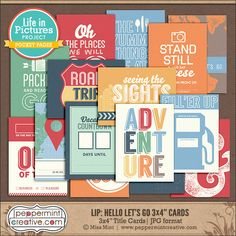 """LIP: Hello Let's Go 3x4"""" Title Cards - Travel & Vacation Themed Pocket Cards perfect for Project Life from www.peppermintcreative.com #printable"""