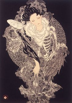 Takato Yamamoto - After graduating from the painting department of the Tokyo Zokei University, he experimented with the Ukiyo-e Pop style. Japan Illustration, Illustration Blume, Japanese Art Modern, Traditional Japanese Art, Japanese Artists, Yamamoto, Art Kawaii, Ero Guro, Tokyo