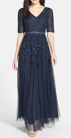 Adrianna Papell Beaded Mesh V-Neck Gown This is so pretty. Something I could wear, being over 50!