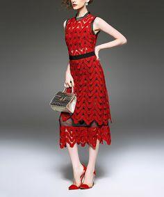 Loving this Red Ripple Midi Dress on #zulily! #zulilyfinds