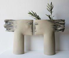 Ceramic face vase ceramic table art contemporary ceramic art