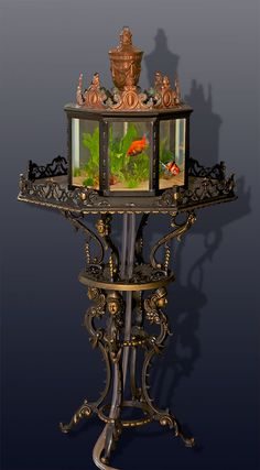 RARE antique parlor aquarium How cool is this?  I would adore having something like this!