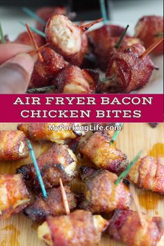 These Air Fryer Bacon Wrapped Chicken Bites are the perfect appetizer for your Air Fryer. It's so quick and easy and delicious. #airfryerrecipe #airfryer #quickrecipe #airfryerappetizer
