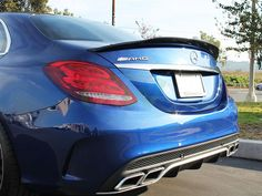 Brilliant Blue Mercedes W205 C63S GTX with an RW Carbon Fiber Trunk Spoiler