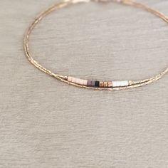 Minimalist Delicate Rose Gold Bracelet with Tiny Beads    Thin Dainty  amp   Colorful Bracelet 17aff697c2c