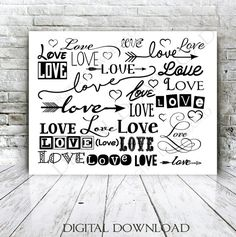 Set of Love and Hearts Quote Vector Digital by ExpressionsDigital