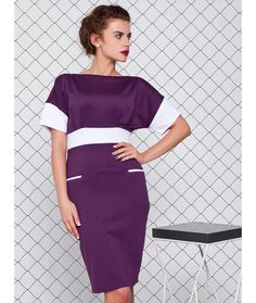 Rochie doua culori Miruna Office Dresses, Office Outfits, Office Fashion, Fashion Dresses, Cold Shoulder Dress, Fancy, Model, Cotton, Shirts