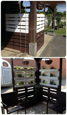 Pallet wall, shades and planter #PalletFence, #PalletWall