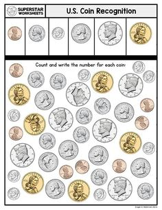 These free printable, counting money, worksheets will help your students build an understanding of coin recognition, coin value, addition, subtraction, skip counting, place value, and more. Counting Money Worksheets, Subtraction Worksheets, Kindergarten Math Worksheets, Free Printable Worksheets, Worksheets For Kids, Printables, Coin Value Chart, Skip Counting, Child Development