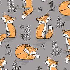 Dreamy Fox in Opal Gray  fabric by caja_design on Spoonflower - custom fabric