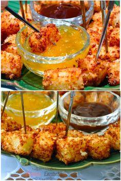 Dadinhos de Tapioca , Crocante por fora, macio por dentro, sabor delicado, mistura-se 3 ingredientes leva-se a geladeira, corta em cubinhos frita e serve