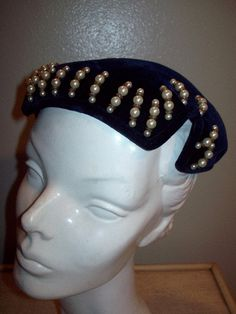 Vintage 50s Velveteen Casque Hat Black With by atomicbettiescloset