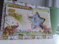 Babykarte aus Vogelhäuschenpapier, Wellenkarton und selbstklebenden Elefanten