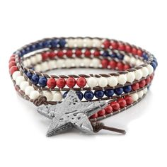 We Salute You Bracelet | Fusion Beads Inspiration Gallery | I love the look of this wrapped bracelet. The vintage, warn look with the distressed star button will look perfect any day...not just 4th of July. The Swarovski crystal pearls used in it means that it is going to stand up to my busy life and the kids playing with my jewelry.