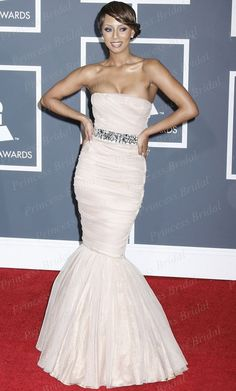 New Fashion Keri Hilson #Strapless #MermaidPeachDress at 52nd Annual #GrammyAwards #RedCarpetDress With #Crystals CE1651