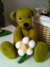 Ooak needle felted teddy bear with flower