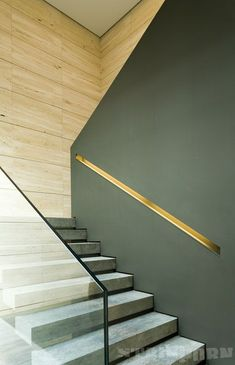 Stairwell half wall ideas half wall staircase half wall cap half wall staircase contemporary staircase using both glass handrail and half wall staircase Glass Handrail, Staircase Handrail, Stair Railing, Staircase Design, Handrail Ideas, Contemporary Stairs, Modern Stairs, Metal Stairs, Stair Detail