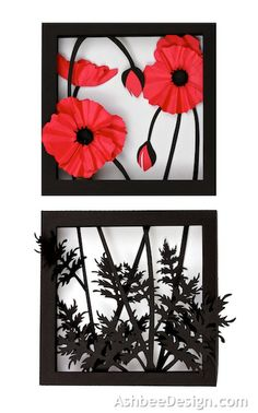 Ashbee Design Silhouette Projects: 3d Poppy Shadow Box Silhouette Tutorial ... luv these black and red cut outs ... don't have a silhouette yet, but will be looking here for cutting files ... blog has great photo tutorials to match ...