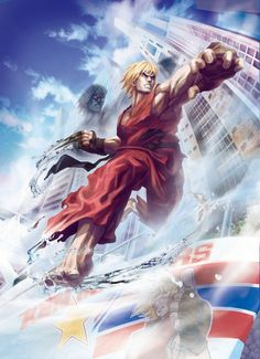 View an image titled 'Ken Masters Artwork' in our Street Fighter X Tekken art gallery featuring official character designs, concept art, and promo pictures. Ken Street Fighter, Street Fighter Alpha 3, Street Fighter Characters, Super Street Fighter, Kyoko Sakura, Ken Masters, World Of Warriors, Street Fights, Epic Art
