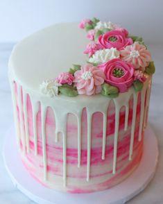 Drip cake with buttercream flowers - # Buttercreamflowers cake - Best Cupcakes Ideen - Cake Design Pretty Birthday Cakes, Pretty Cakes, Beautiful Cakes, Amazing Cakes, Birthday Drip Cake, Birthday Cake With Flowers, Birthday Kids, Pink Birthday, Beautiful Flowers