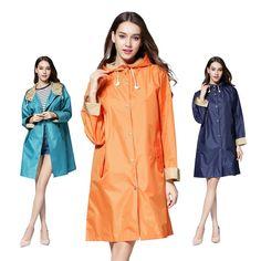 Fashion Women Solid Hood Waterproof Long Sleeve Raincoat Poncho Rain Coat Jacket #RaincoatsForWomenLongSleeve