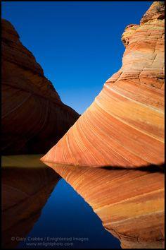 Striated sandstone reflected, Paria Canyon Vermilion Cliffs Wilderness, Arizona