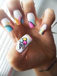 Nail art from the NAILS Magazine Nail Art Gallery, hand-painted, How To Do Nails, Fun Nails, Pretty Nails, Chloe Nails, Ice Cream Nails, Crazy Nails, Nail Art Galleries, Cool Nail Art, Nails Magazine